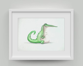 Scandinavian Print, Krokodile Safari Poster Nursery. Animal Portrait, Fine Art Print.