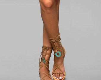 Nubuck gladiator sandals. Natural leather gladiators. Women's leather sandals. Women's flats. Lace up sandals. Handmade greek sandals.