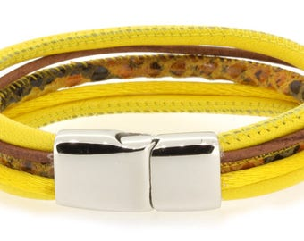 Multi-row yellow leather bracelet with stainless steel magnetic clasp, leather bracelet for women, gifts for her