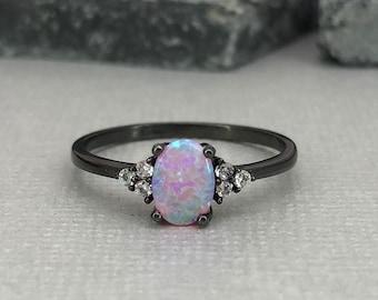 Black opal engagement ring | Etsy
