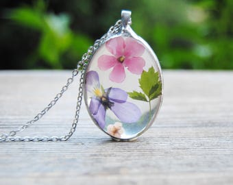 Pansy necklace, terrarium necklace, real flower necklace, pressed flower pendant, herbarium necklace