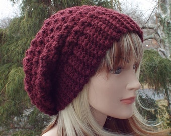 Oxblood wine crochet hat, womens slouchy beanie, slouchy hat, oversized slouch beanie, chunky hat, winter hat, slouch hat