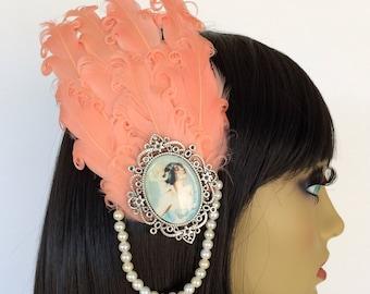 Peach Feather Fascinator, Art Deco Fascinator, 1930s Hair, Pearl Hair Clip, Vintage Style Fascinator, Great Gatsby
