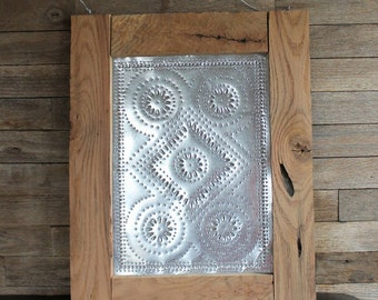 Oak Framed Tin Punch - Wagon Wheel or Texas Star - Pie Safe Panel - Primitive - Hand Punched Panel