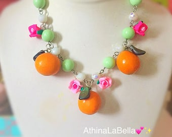 Orange Fruit Necklace, Fruit Salad Necklace, Fruit Necklace, Fruit Jewelry, Vintage Style Necklace, Rockabilly Necklace, Retro Style Jewelry