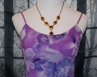 80's 90's Vintage Purple Blue White Flower High-Low Summer/Beach Dress By City Triangles, Beach Dress, Boho, Sun Dress,Woman's Dress, Retro