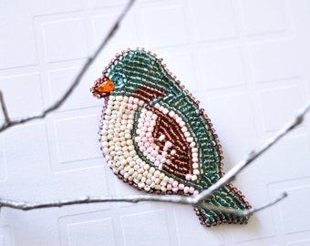 Beaded brooch Embroidered bird brooch Beaded bird Beaded jewelry Bird jewelry brooch