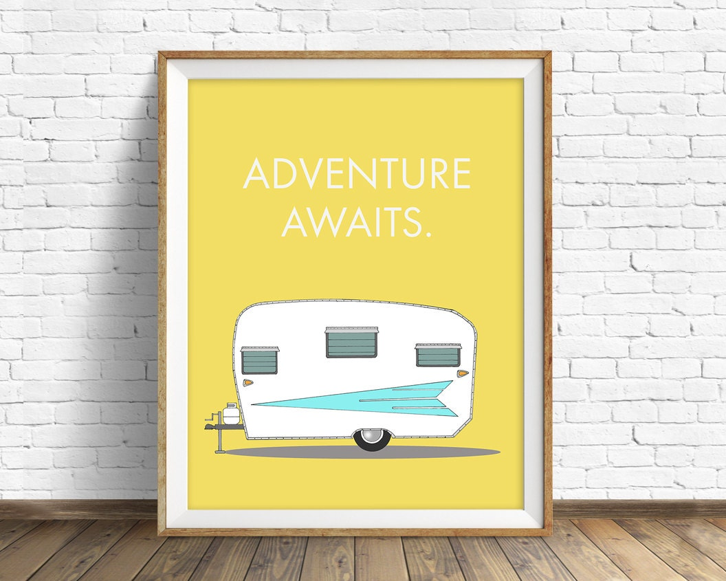 Retro Camper Art Print Mid Century Modern Wall Large Prints Quote