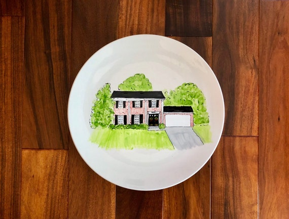 Hand painted, personalized, illustrated Home platter, custom house platter, new home gift,  anniversary platter, large home platter