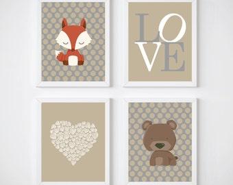 "Printable Nursery Art Prints. Woodland Nursery Art Prints. Baby Boy Nursery Art Prints. Set of 4-8x10"" Digital Instant Download -S302"