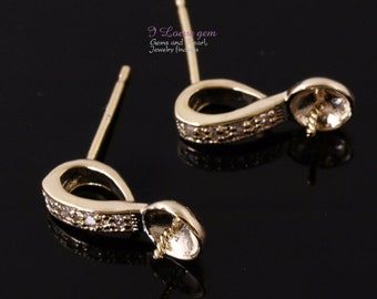 SALE / 10pcs / NP-1314 Gold plated, Earring, Ear Stud for Half Drilled Beads,  925 sterling silver post