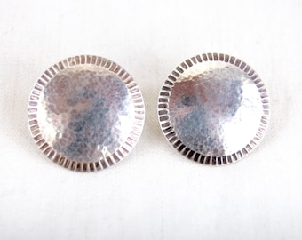 Round Concho Earrings Sterling Silver Discs Southwestern Posts Vintage Conchos Button Post Stud