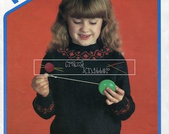 Child's Fairisle Sweater DK 24-30ins Wendy 1858 Knitting Pattern PDF instant download