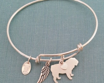 BullDog Adjustable Bangle Bracelet, 925 Sterling Silver Personalize Pendant, Breed Silhouette Charm Rescue Shelter Mothers Day Gift
