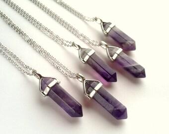 Amethyst Halskette Silber Kristall Punkt-Anhänger Halskette Amethyst Schmuck Naturstein Kette lila Stein Halskette Boho Mineral