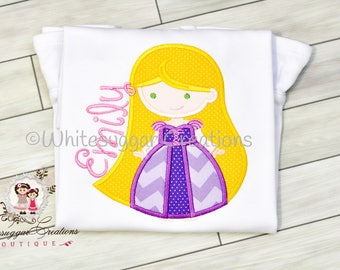 Girl Princess Shirt, Rapunzel Baby Shirt, Princess Birthday Party, Toddler Princess Outfit, Personalized, Embroidered, Baby Princess Outfit