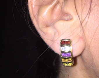 Vintage 14k gold half hoop gemstone earrings citrine, blue topaz, garnet, periot