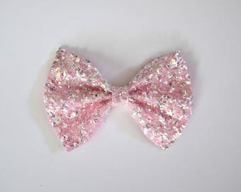 Crushed Pink Ice Glitter Bow Photo Prop Pictures Headband for Newborn Baby Little Girl Child Adult Spring Summer Valentines Easter Clip