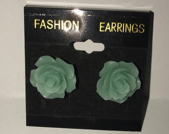 Teal rose stud earrings