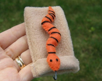 Orange snake miniature felt plushie stuffed animal-sleeping bag  -playset-black stripe- handmade- gift for him- birthday gift- felt animals