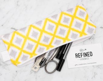 Yellow Diamond Pencil Case - pencilcase - pencil pouch - pen case - pen pouch - zipper pouch - school supplies
