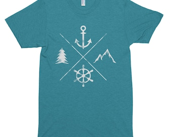 Atlantic Northeast outdoors mountain, water, forest, Sailor, Hiker Short sleeve soft t-shirt