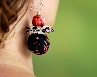 Earrings made of fabric