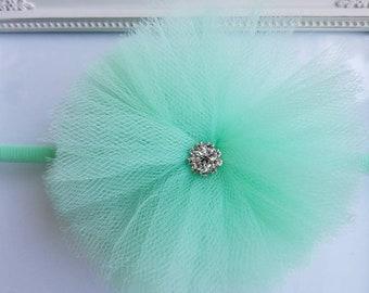Mint Rhinestone Tulle Flower Headband