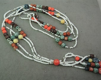 Beaded Double Strand Necklace with Tassel c1980s