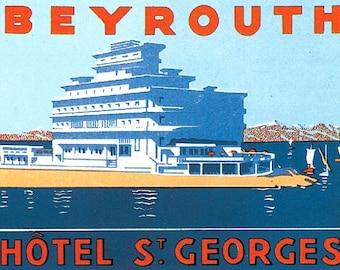 Hotel St Georges Beirut Beyrouth Lebanon reproduction hotel luggage label ephemera