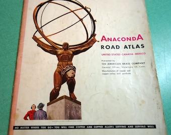 Vintage Anaconda Rand McNally Road Atlas, 1953 Road Map Atlas, Vintage Atlas, Vintage Rand McNally Atlas, Vintage Rand McNally
