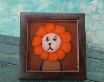Special Gift For Kids Girls,Children Birthday Leo Gift,Cute Animal Photo Frame Lion Wool Felt,Home Decor Picture Frame,Wall Hanging Decor