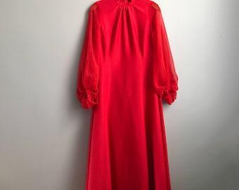 Handmade 70s Crimson Gown - Size Large