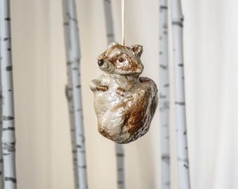 Mini Metallic Hanging Raccoon Tree Decoration