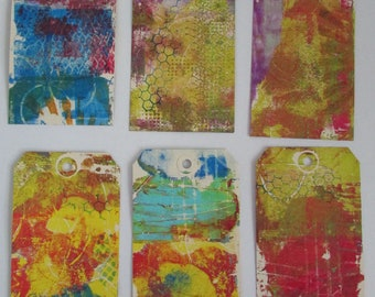 6 tags paper tags gelliprinted tags smashbook art journal junk journal kraft tags bookmarks 6 tags 3x6