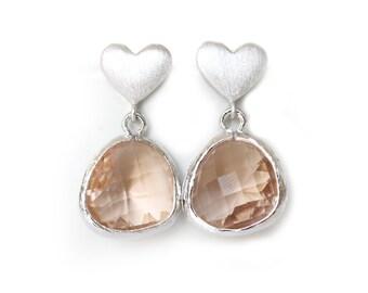 Champagne Earrings Silver Heart Post Earrings Peach Earrings Blush Bridesmaid Earring Peach Wedding Champagne Wedding Rose Gold Earrings
