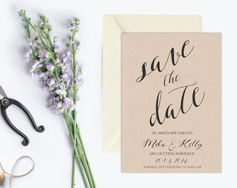 Rustic Save the Date Invitation Printable, Kraft Save the Date Invitation, Save the Date Invite, Modern Save the Date Invitation, Printed
