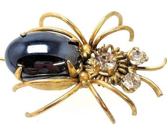 Vintage MidCentury Spider Rhinestone Costume Midnight Dark Blue Stone Jewelry Brooch Pin