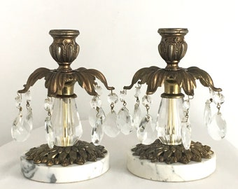 Pair Candleholders with Teardrop Crystals, Marble and Brass, Hollywood Regency