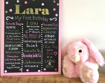 Real birthday chalk board , pink chalkboard, personalised, handmade birthday chalkboard, first birthday board, 1st birthday sign