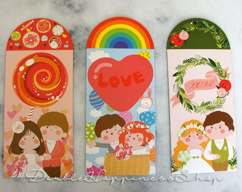 VARIETY PACK Modern Super Adorable Red Packet / Red Envelope / Money Envelope / Lai See for Wedding (Qty 6) [RW5]