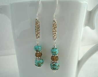 Earrings with hammered silver link, vintage turquoise beads and crystals, turquoise and brown, silver plated
