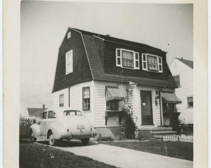 Vintage Snapshot Photo: House and Car, c1940s (72548)
