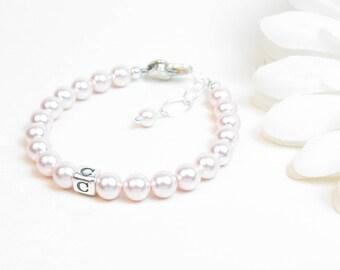 Baby Bracelet - Baby Girl Bracelet - Pink Baby Bracelet - Personalized Newborn Infant Bracelet - Little Girl Jewelry - Pink Pearl Bracelet
