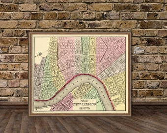 New Orleans antique map - Map of New Orleans fine reproduction - Old maps restored