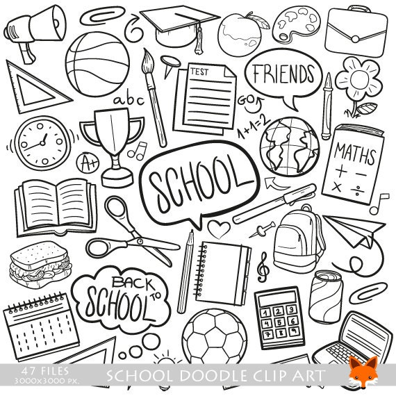 School Learning Friends Back to School Doodle Icons Clipart