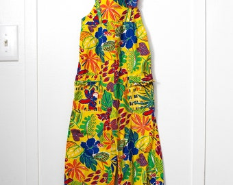 Girl's 6X: Tropical Romper, Colorful Print Long Romper, Appliqué Flower, Ruffled Pockets, by Her Majesty