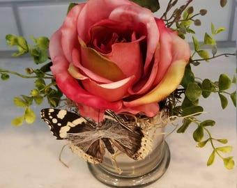 Pink rose in mercury glass vase