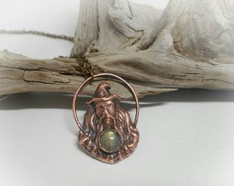 Wizard Pendant - Copper Electroformed Wizard- Labradorite Pendant