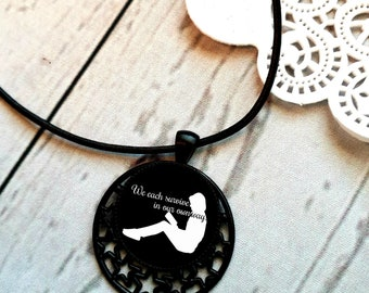 We each survive in our own way, bookish pendant necklace, book lover gift, book necklace, bibliophile jewelry, literary gift, bookworm